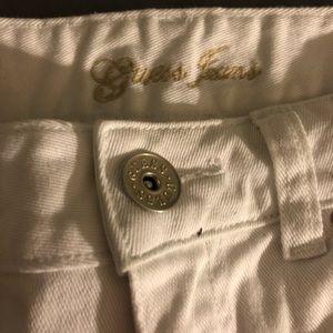 white jean guess shorts